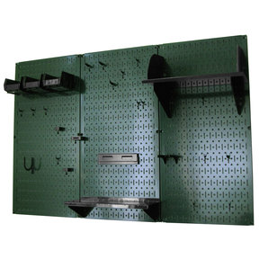 Wall Control 4' Metal Pegboard Standard Tool Storage Kit - Green Toolboard & Black Accessories