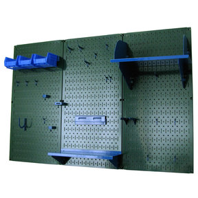 4' Metal Pegboard Standard Tool Storage Kit - Green Toolboard & Blue Accessories