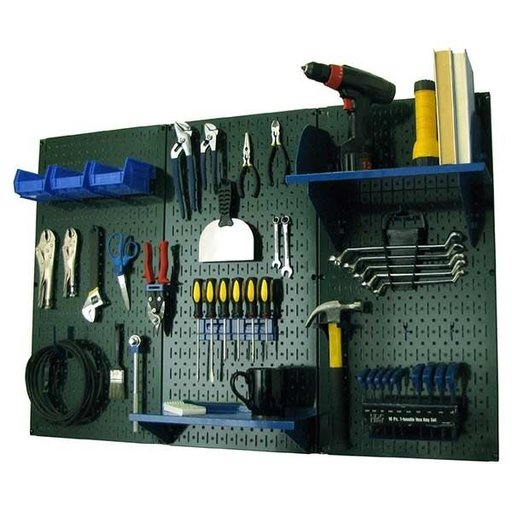 View a Larger Image of 4' Metal Pegboard Standard Tool Storage Kit - Green Toolboard & Blue Accessories
