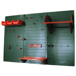 4' Metal Pegboard Standard Tool Storage Kit - Green Toolboard & Red Accessories