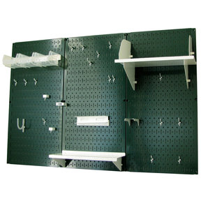 4' Metal Pegboard Standard Tool Storage Kit - Green Toolboard & White Accessories