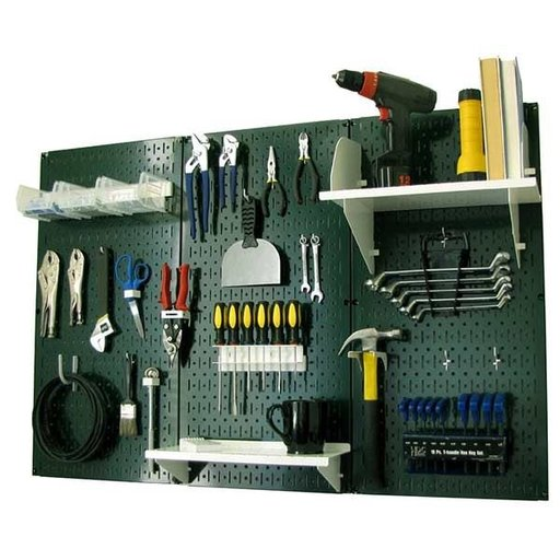 View a Larger Image of 4' Metal Pegboard Standard Tool Storage Kit - Green Toolboard & White Accessories