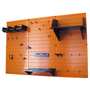 4' Metal Pegboard Standard Tool Storage Kit - Orange Toolboard & Black Accessories