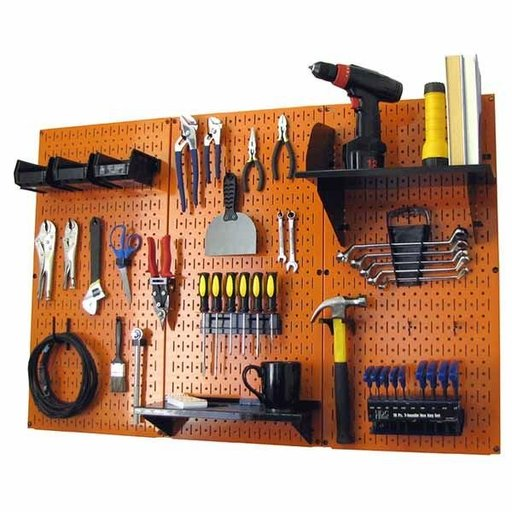 View a Larger Image of 4' Metal Pegboard Standard Tool Storage Kit - Orange Toolboard & Black Accessories