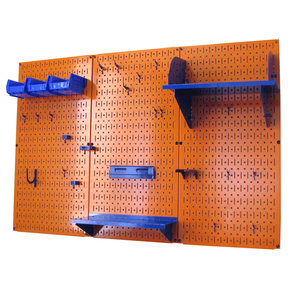 Wall Control 4' Metal Pegboard Standard Tool Storage Kit - Orange Toolboard & Blue Accessories