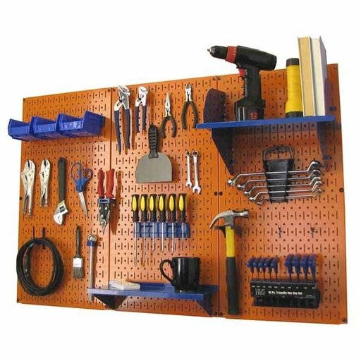 View a Larger Image of 4' Metal Pegboard Standard Tool Storage Kit - Orange Toolboard & Blue Accessories