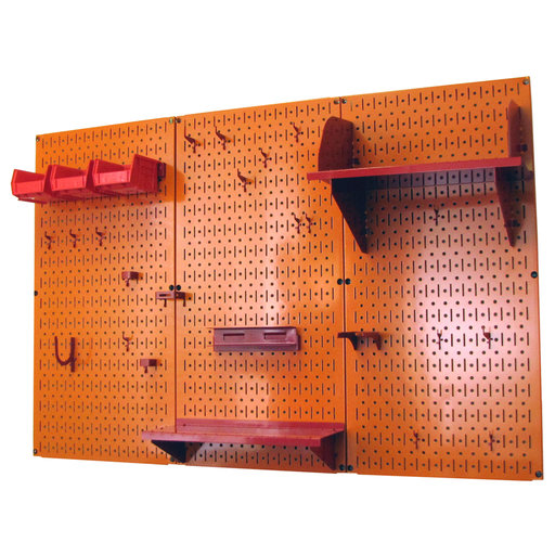 View a Larger Image of 4' Metal Pegboard Standard Tool Storage Kit - Orange Toolboard & Red Accessories