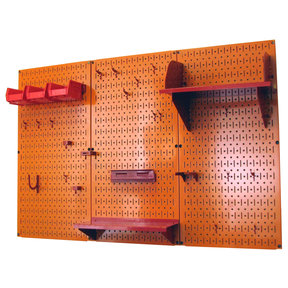 Wall Control 4' Metal Pegboard Standard Tool Storage Kit - Orange Toolboard & Red Accessories