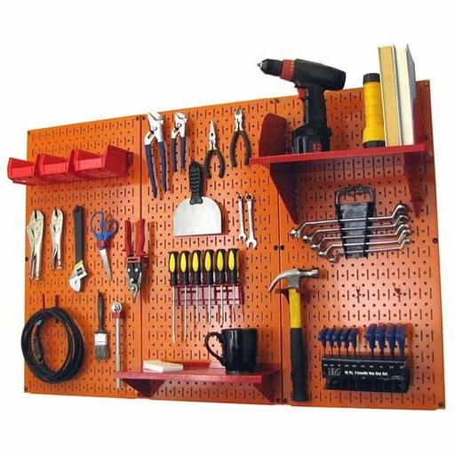 View a Larger Image of Wall Control 4' Metal Pegboard Standard Tool Storage Kit - Orange Toolboard & Red Accessories