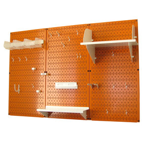 Wall Control 4' Metal Pegboard Standard Tool Storage Kit - Orange Toolboard & White Accessories