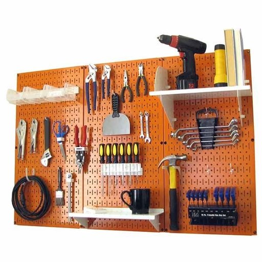 View a Larger Image of 4' Metal Pegboard Standard Tool Storage Kit - Orange Toolboard & White Accessories