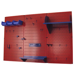 4' Metal Pegboard Standard Tool Storage Kit - Red Toolboard & Blue Accessories