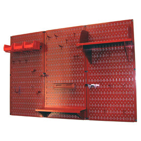 Wall Control 4' Metal Pegboard Standard Tool Storage Kit - Red Toolboard & Red Accessories