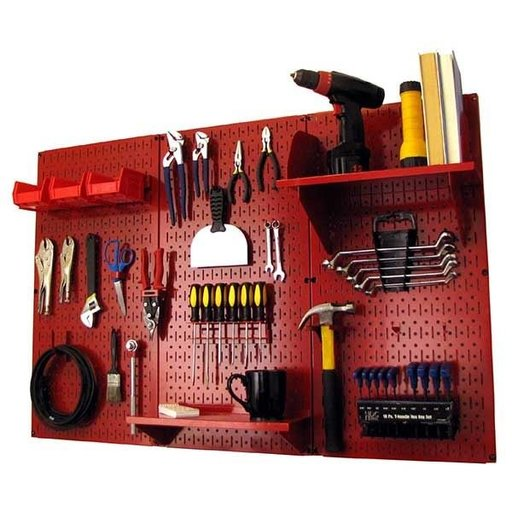 View a Larger Image of Wall Control 4' Metal Pegboard Standard Tool Storage Kit - Red Toolboard & Red Accessories