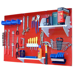 Wall Control 4' Metal Pegboard Standard Tool Storage Kit - Red Toolboard & White Accessories