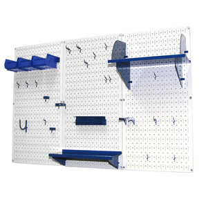 Wall Control 4' Metal Pegboard Standard Tool Storage Kit - White Toolboard & Blue Accessories