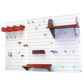 Wall Control 4' Metal Pegboard Standard Tool Storage Kit - White Toolboard & Red Accessories