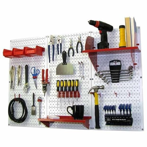 View a Larger Image of Wall Control 4' Metal Pegboard Standard Tool Storage Kit - White Toolboard & Red Accessories