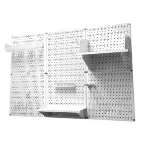 Wall Control 4' Metal Pegboard Standard Tool Storage Kit - White Toolboard & White Accessories