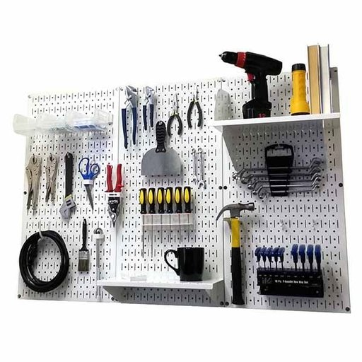 View a Larger Image of Wall Control 4' Metal Pegboard Standard Tool Storage Kit - White Toolboard & White Accessories