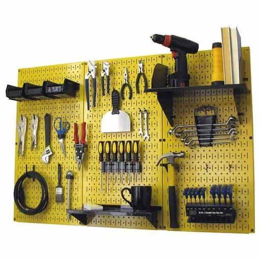 View a Larger Image of Wall Control 4' Metal Pegboard Standard Tool Storage Kit - Yellow Toolboard & Black Accessories
