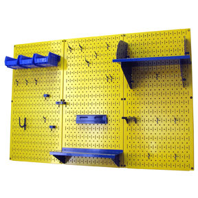 Wall Control 4' Metal Pegboard Standard Tool Storage Kit - Yellow Toolboard & Blue Accessories