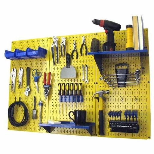 View a Larger Image of Wall Control 4' Metal Pegboard Standard Tool Storage Kit - Yellow Toolboard & Blue Accessories