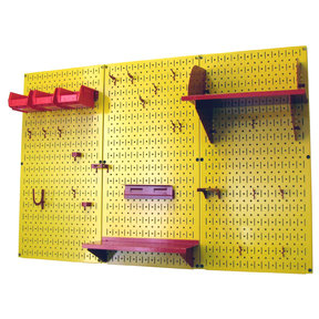 Wall Control 4' Metal Pegboard Standard Tool Storage Kit - Yellow Toolboard & Red Accessories