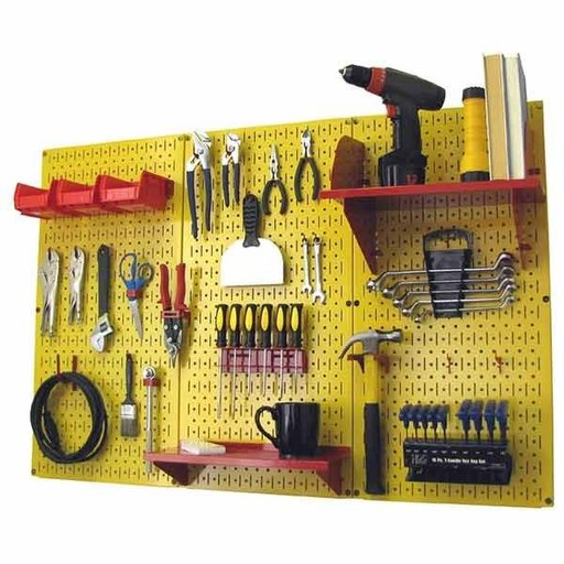 View a Larger Image of 4' Metal Pegboard Standard Tool Storage Kit - Yellow Toolboard & Red Accessories