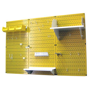 Wall Control 4' Metal Pegboard Standard Tool Storage Kit - Yellow Toolboard & White Accessories