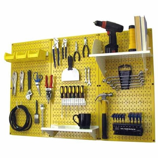 View a Larger Image of Wall Control 4' Metal Pegboard Standard Tool Storage Kit - Yellow Toolboard & White Accessories