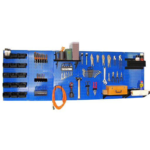 View a Larger Image of Wall Control 8' Metal Pegboard Master Workbench Kit - Blue Toolboard & Black Accessories