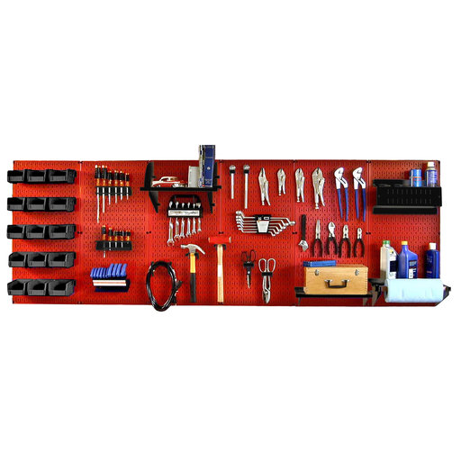 View a Larger Image of Wall Control 8' Metal Pegboard Master Workbench Kit - Red Toolboard & Black Accessories