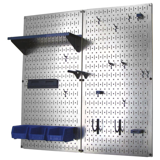 View a Larger Image of Wall Control Metal Pegboard Utility Tool Storage Kit - Galvanized Steel Pegboard & Blue Accessories