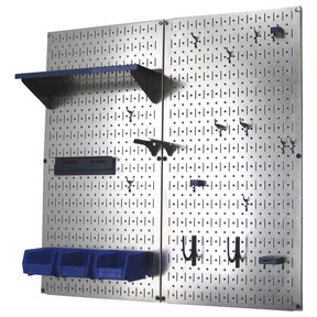 Metal Pegboard Utility Tool Storage Kit - Galvanized Steel Pegboard & Blue Accessories