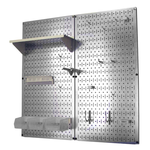 View a Larger Image of Metal Pegboard Utility Tool Storage Kit - Galvanized Steel Pegboard & White Accessories