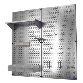 Metal Pegboard Utility Tool Storage Kit - Galvanized Steel Pegboard & White Accessories