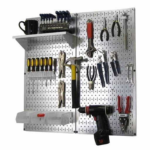 View a Larger Image of Wall Control Metal Pegboard Utility Tool Storage Kit - Galvanized Steel Pegboard & White Accessories