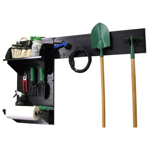 View a Larger Image of Pegboard Garden Tool Board Organizer with Black Pegboard and Black Accessories