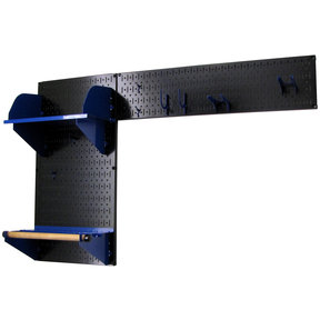Wall Control Pegboard Garden Tool Board Organizer with Black Pegboard and Blue Accessories