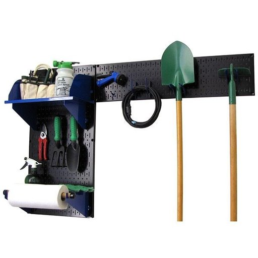 View a Larger Image of Wall Control Pegboard Garden Tool Board Organizer with Black Pegboard and Blue Accessories
