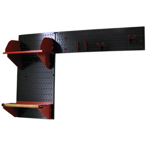 Pegboard Garden Tool Board Organizer with Black Pegboard and Red Accessories