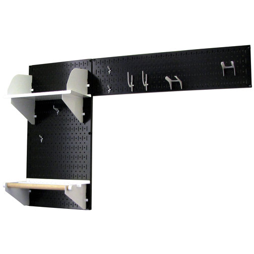 View a Larger Image of Wall Control Pegboard Garden Tool Board Organizer with Black Pegboard and White Accessories