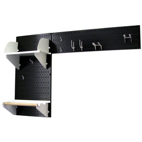 Wall Control Pegboard Garden Tool Board Organizer with Black Pegboard and White Accessories