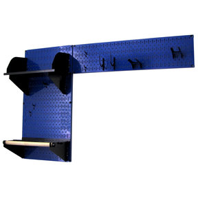 Wall Control Pegboard Garden Tool Board Organizer with Blue Pegboard and Black Accessories
