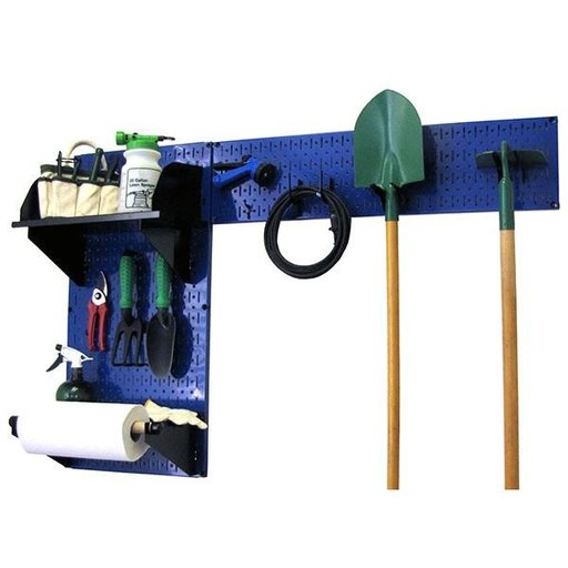 View a Larger Image of Wall Control Pegboard Garden Tool Board Organizer with Blue Pegboard and Black Accessories