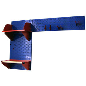 Pegboard Garden Tool Board Organizer with Blue Pegboard and Red Accessories