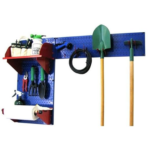 View a Larger Image of Wall Control Pegboard Garden Tool Board Organizer with Blue Pegboard and Red Accessories