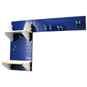 Wall Control Pegboard Garden Tool Board Organizer with Blue Pegboard and White Accessories