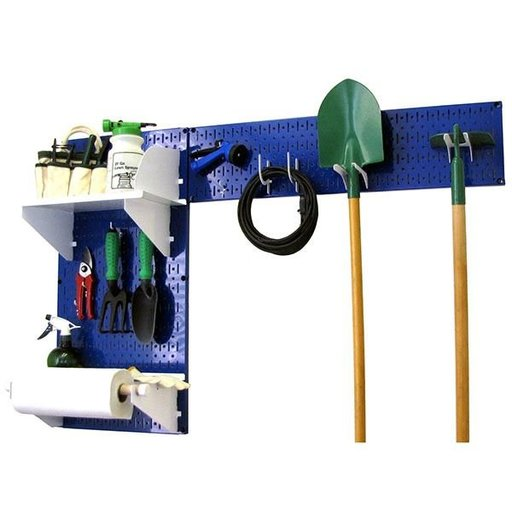 View a Larger Image of Wall Control Pegboard Garden Tool Board Organizer with Blue Pegboard and White Accessories